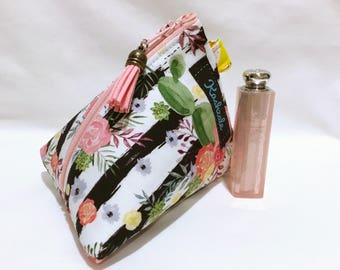 Cactus and Stripe Cosmetic Bag, Tropical Make up Bag, Small  Make up Bag, Triangle Shape with Attachment Clip, Gift for Her, Coin Purse.