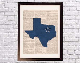 Dallas Cowboys Dictionary Print - Dallas Texas Art - Print on Vintage Dictionary Paper - Dallas Cowboys Blue - Texas Print