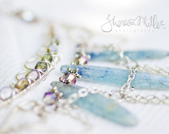 The Thaw - Kyanite, crystal and glass bead statement necklace