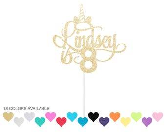 Personalized Birthday Unicorn Cake Topper - any color glitter custom topper