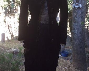 Antique Victorian Steampunk Heavy Fitted Waist Black Velvet Fur Coat Theatre S 32-34