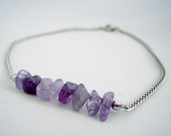 Amethyst Chip Bar Stainless Steel Anklet Purple Anklet Non Tarnish Anklet Beach Anklet Body Jewelry