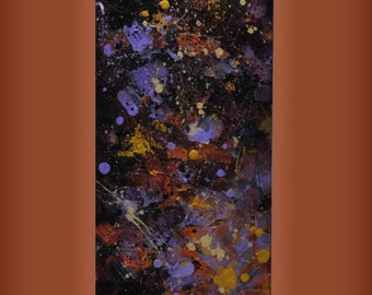 """Abstract acrylic purple and gold splatter painting, 8"""" x 24"""" on stretched canvas, 3/4"""" deep."""
