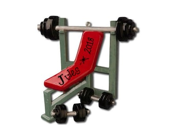 Weighlifting Personalized Christmas Ornament / Gym Rat / Fitness / Shoulder Press / Incline Bench / Hand Personalized with Name or Message