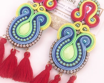 handmade soutache earring with tassels