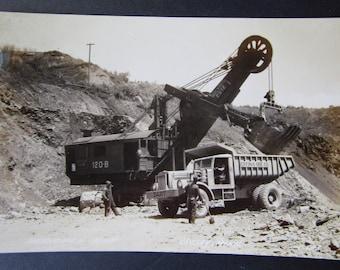 Vintage RPPC Real Photo Post Card 1940's Mahnomen Minnesota Crosby Mine Power Shovel and Dump Truck Cuyuna Ore Co. Ephemera Picture