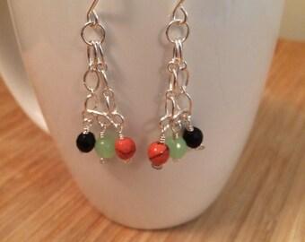 handmade sterling and green/coral/grey jade dangle earrings