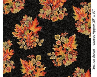 Autumn Leaves~Leaves Spray Black Cotton Fabric By Benartex