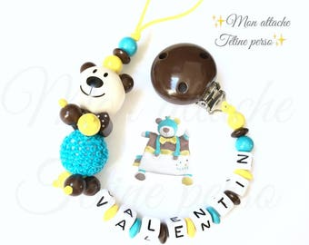 "personalized wooden pacifier ~ bear model ""Valentin"" Paddy's Day theme"