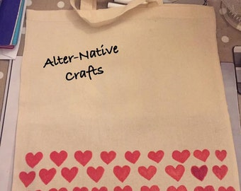 Cotton calico tote bag with heart design