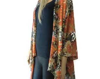 Seville Kimono cardigan Jacket- Coral black,white and beige- Chiffon kimono with abstract print-Ruana cardigan-Last One