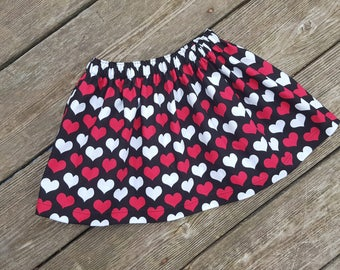 SALE - Girl's Toddlers Black with Red Hearts - Valentines Day - Ready To Ship
