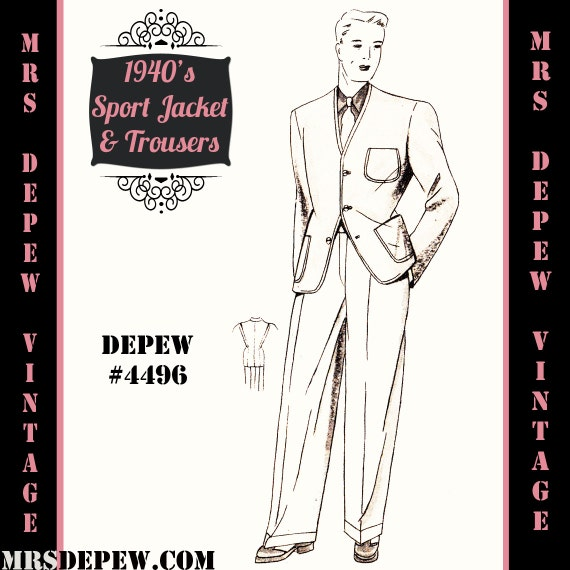 1940s Sewing Patterns – Dresses, Overalls, Lingerie etc Menswear Vintage Sewing Pattern 1940s Mens Sport Jacket and Trousers in Any Size Depew   AT vintagedancer.com