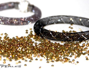 Black Bracelet (8mm) mesh tube Kit band silver and gold rhinestones
