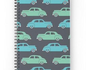 Classic Car Journal • Car Journal • Retro Notebook • Classic Car Notebook • Spiral Notebook • Spiral Journal • Deluxe Notebook • Retro
