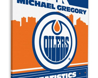 Edmonton baby art etsy edmonton oilers personalized birth announcement on canvas baby gift nursery art negle Image collections