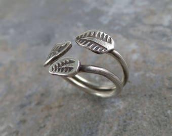 Three Leaf Adjustable Ring, Sterling Silver