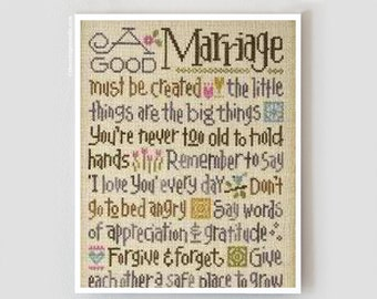 LIZZIE*KATE A Good Marriage counted cross stitch patterns KIT at thecottageneedle.com Wedding love married anniversary newlywed