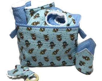 Baby Shower Gift Basket, 9 piece set, baby gift, Baby Accessories, Sock Monkey Blanket, Burp Cloths, Baby Bibs, bunny blanket, Diaper Caddy