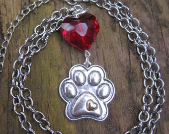 Dog Paw Print Crystal Red Heart Pendant Necklace
