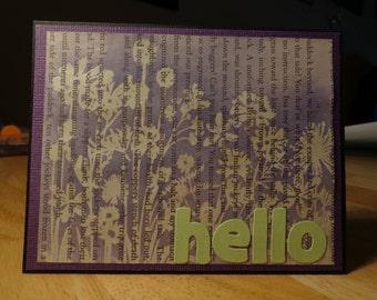 Purple and green hello card
