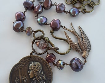 Reserved for Carol please do not purchase unless you are Carol Vintage repurposed jewelry assemblage necklace antique french