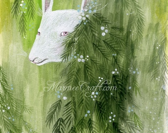 """MarmeeCraft woodland art print, """"A Rather Mysterious Visitor"""""""