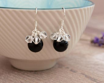 Black Pearl Bridal Earrings - Black Pearl and Crystal Wedding Jewellery - Bridesmaid Earrings - Thank you Gift - Jewellery Made By Me