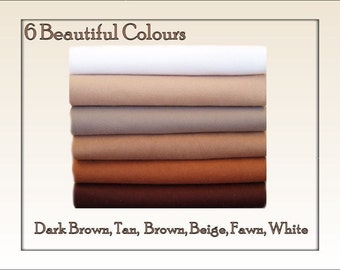 FELT Fabric Chemical Free Squares Brown Shades - 12 squares