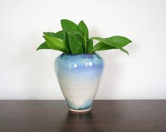 Blue and Gray Ceramic Glazed Vase