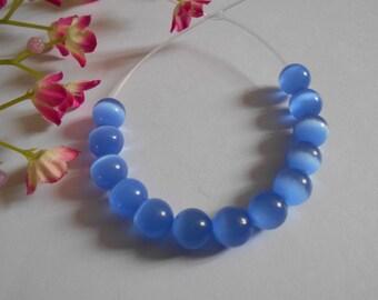 x 12 8 mm blue cat eye beads