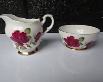 Vintage English Bone China Open Sugar Bowl and Creamer/Red Rose/Sugar Bowl/Creamers/China Bowl/Gilded China/Afternoon Tea/Vintage