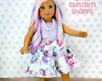 Floral twirl dress for 18 inch American Girl doll pink aqua purple polka dot