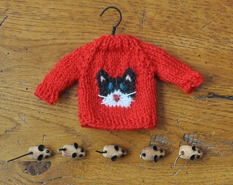 Black and White Cat Hand-Knit Sweater Ornament