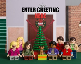 DIGITAL DOWNLOAD – Personalised print-ready Christmas Card image featuring Big Bang Theory themed LEGO minifigs