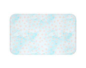 Spring Scroll Pink Dots On Blue Bath Mat Spring Scroll Collection Coordinate