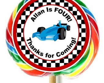 Race Car Stickers, Lollipop Stickers, Race Car Birthday Decoration Stickers, Extra Large Personalized Stickers, Fit on WHIRLY LOLLIPOPS
