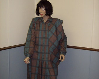 1970's Plaid dress  Size 16