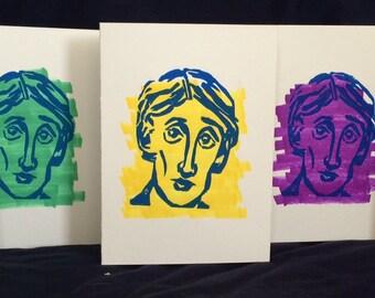 """Virginia Woolf - Hand Printed Cards - 5x7"""""""