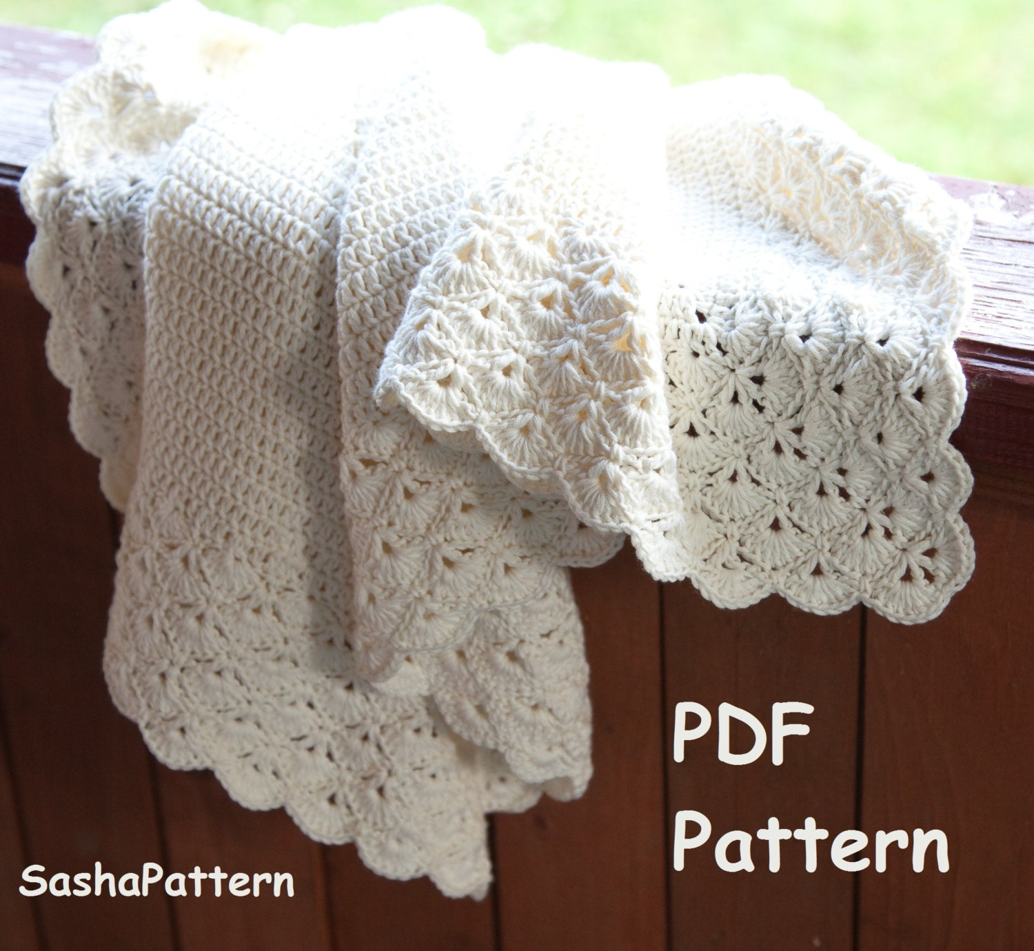 Crochet baby blanket with lacy border pattern square baby