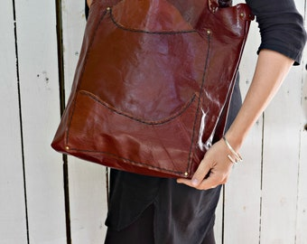 Mahogany/Oxblood Leather Artist Tote, Handmade with upcycled pocket lining