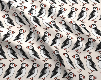 Bird Fabric - Puffin // Champagne Cream Background Birds Rows Cute Winter By Andrea Lauren - Cotton Fabric by the Yard with Spoonflower