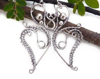 Silver wire earrings, mystical jewelry, wire wrapped jewelry, wire wrapped earrings, wire jewelry. unique boho jewelry, boho earrings
