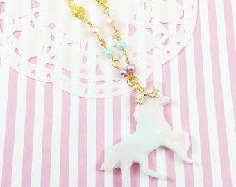Gradient Pastel Unicorn Necklace | Fairy Kei Necklace | Lolita Unicorn Necklace | Mahou Kei Unicorn | Pastel Rainbow Unicorn | Sweet Lolita