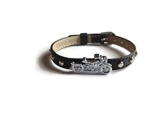 Motorcycle Bracelet - Studded Genuine Leather Motorcycle Buckle Bracelet - Biker Bracelet