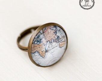 World Map Ring - Atlas Adjustable Ring - Globe Photo Glass Ring - Old Blue Map Ring Jewelry - Adventure Ring - Gift for Explorer Traveler