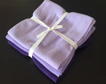 Set of 3, Purple, Dyed Flour Sack, Tea Towels