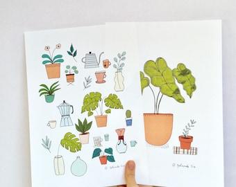 2 affiches - illustration thé, café et plantes, cactus, monstera, cafetière - poster, affiche, décorer vos murs, plantes