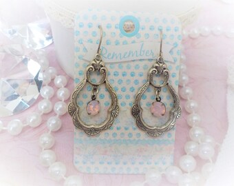 Art Nouveau Crystal pink earrings