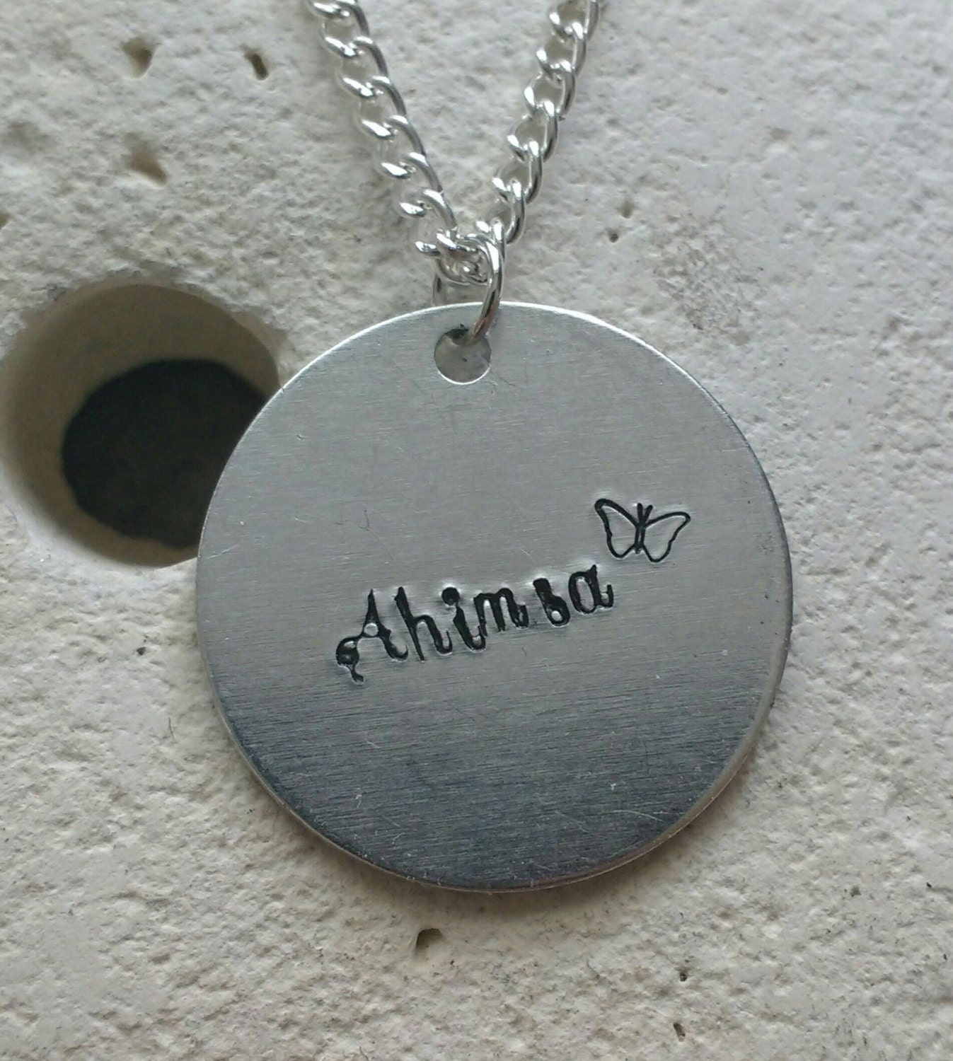 Ahimsa butterfly necklace - vegan veggie jewelry - animal rights jewellery - handstamped 25mm pendant on 18